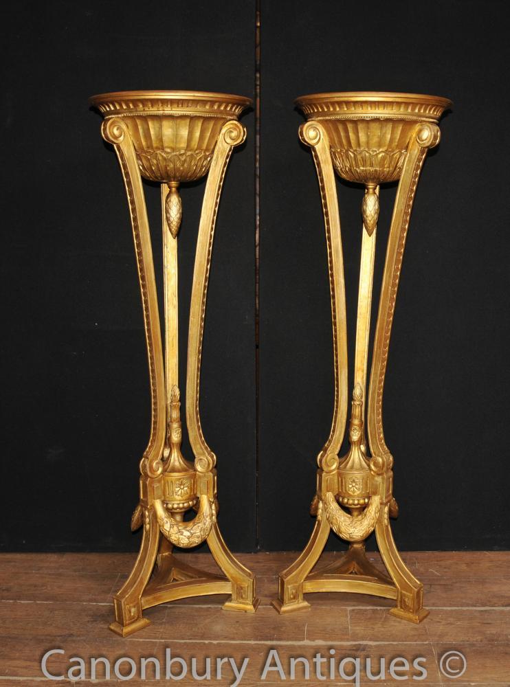 Paire française Empire Gilt torchères Pedestal Planteur Stands Sculpté