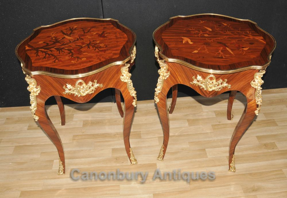 Paire française Louis XVI Cocktail Side Tables oiseaux Inlay