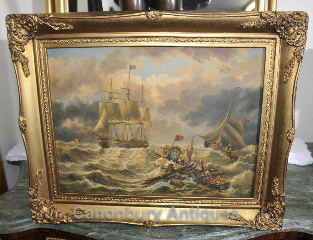 Peinture à l'huile victorienne Maritime Seascape grecque Rescue Mission Art