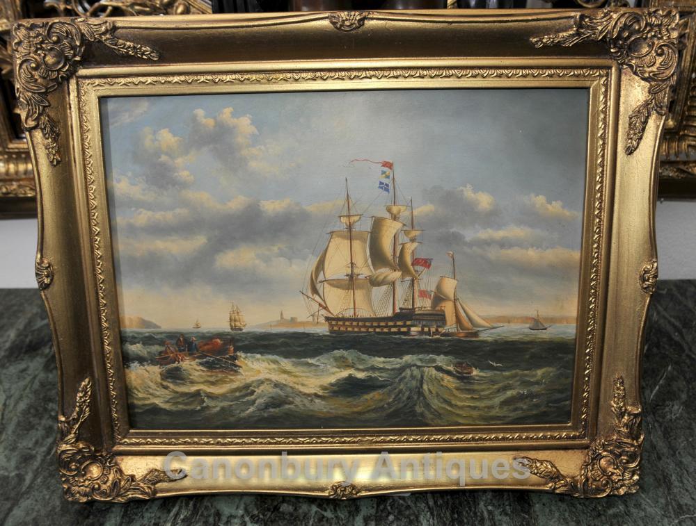Peinture à l'huile victorienne Seascape Galleon Maritime Art Portsmouth