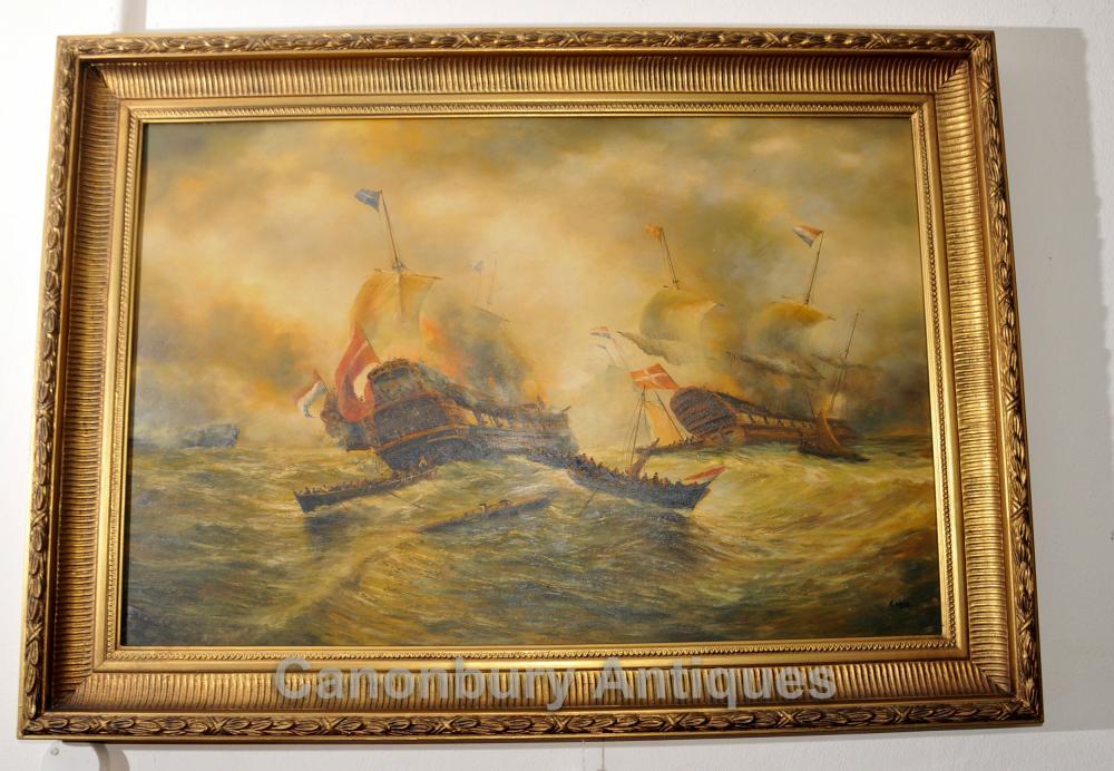 Peinture anglaise Huile Bataille Trafalgar Maritime Art bateau de la Marine