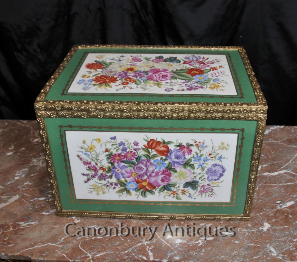 Sevres Porcelaine Bijoux Trinket Case Box Floral Pottery