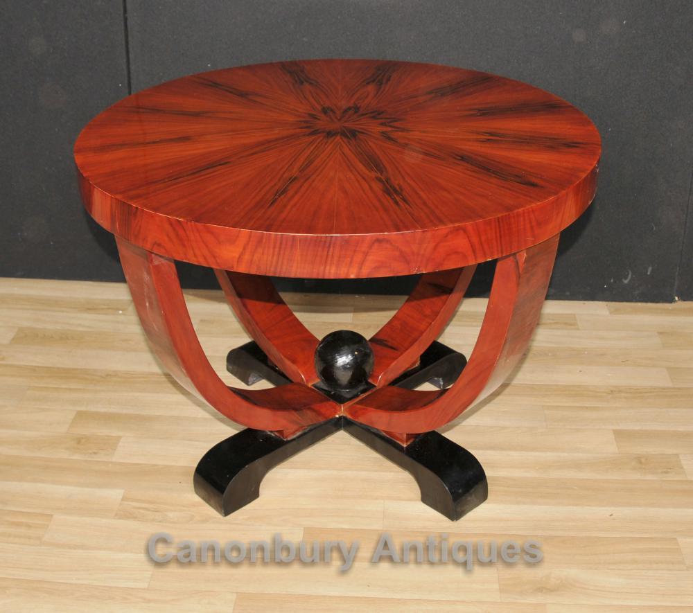 Tables Art Déco Table ronde Side Rosewood Café Meubles Vintage