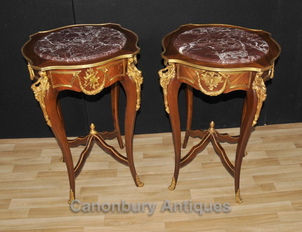Tables basses Paire Louis XVI Ormolu Maiden Leg Mounts