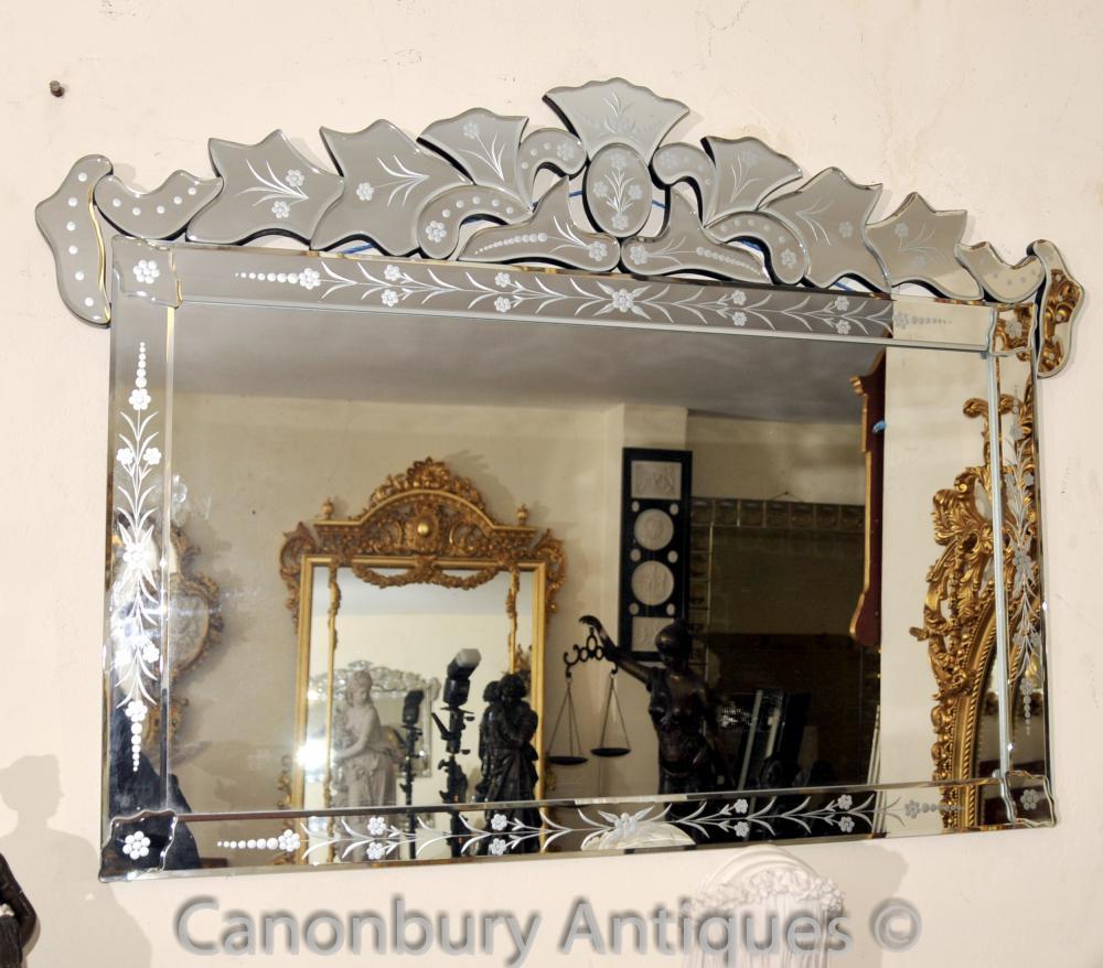 Verre vénitien Mantle Mirror Cut Venice Miroirs