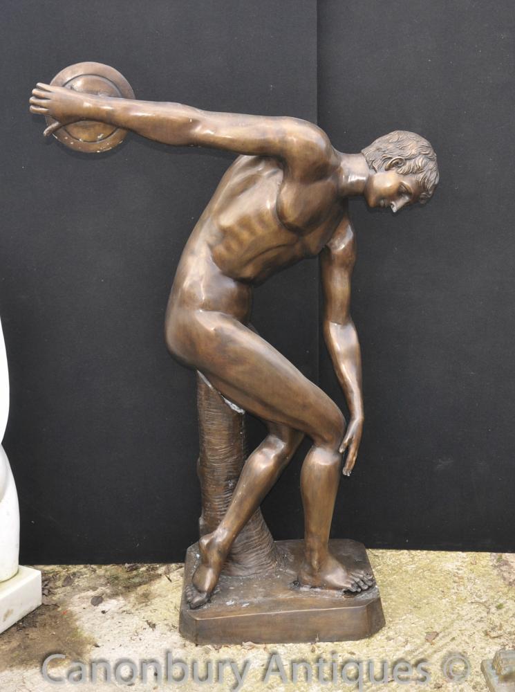 XL Bronze classique Discobole Statue Figure Nude athlète Statue