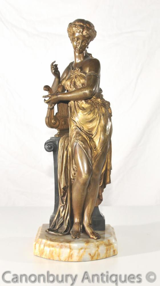 1890. Art Antique Nouveau Bronze Lyre Maiden Statue