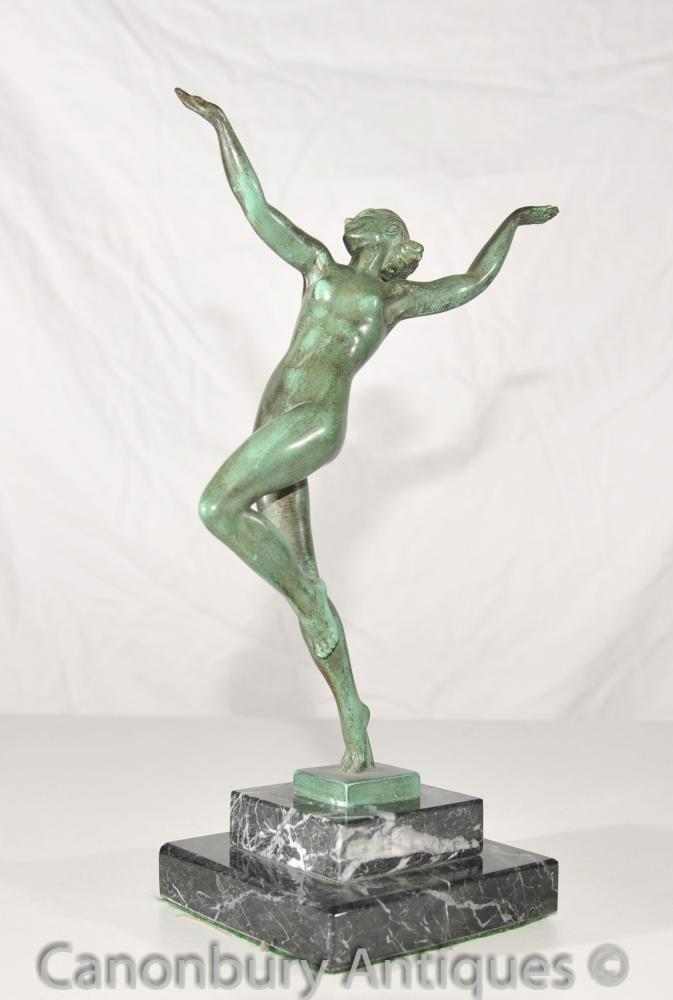 1920 Antique Bronze Nymphe Danseur Signé Guerbe Le Verrier