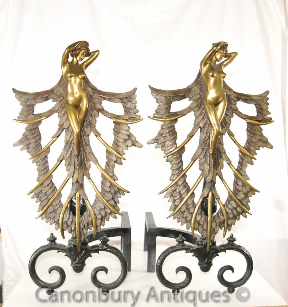 Antique Art Nouveau Nu Féminin chenets Chenets