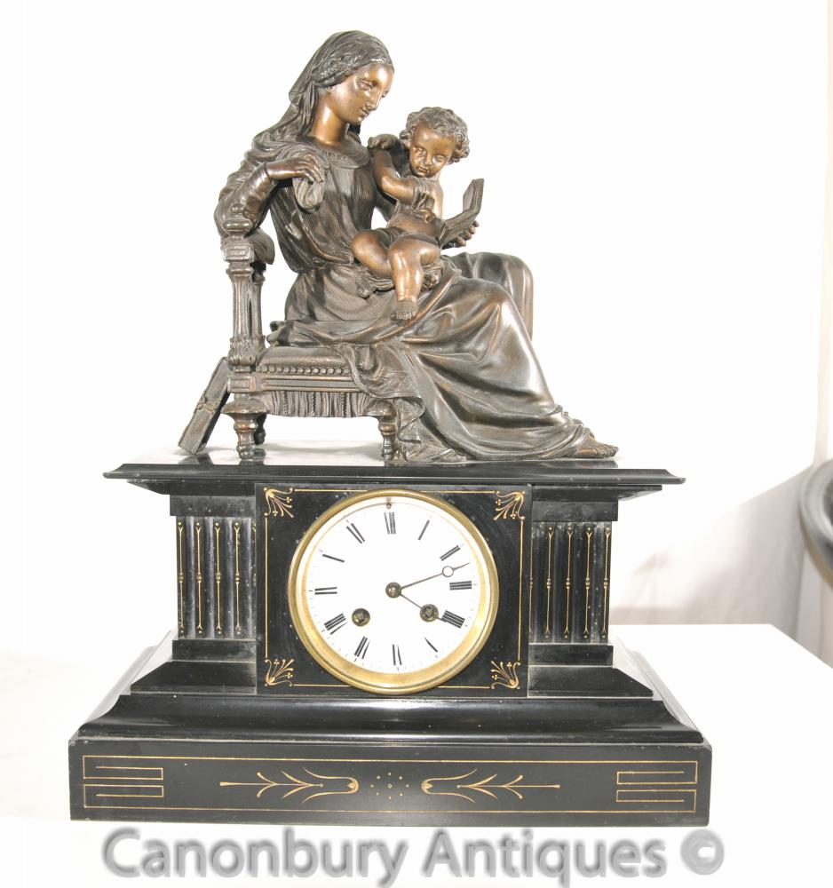 Antique Empire français Marbre Bronze Mantel Clock Femme Cherub