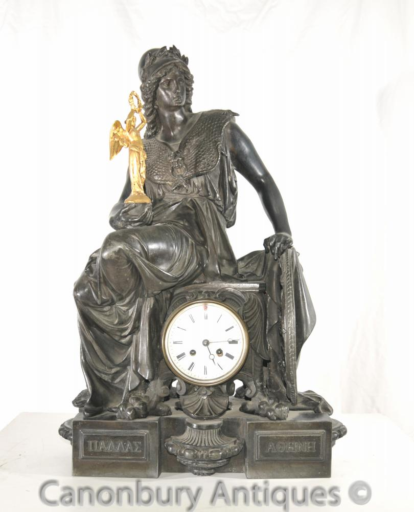 Antique Empire français Spelter Garniture horloge