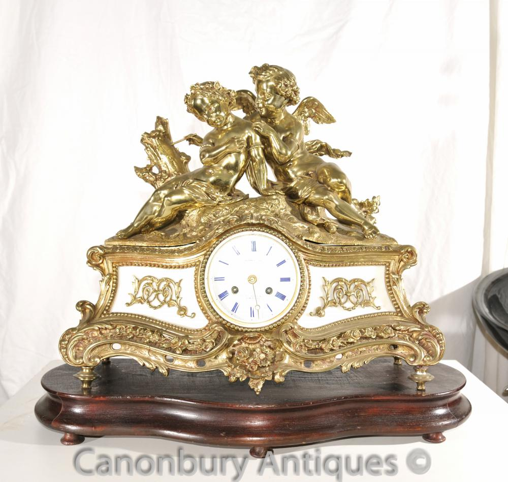 Antique Louis XV Ormolu Cherub Mantle Clock Time