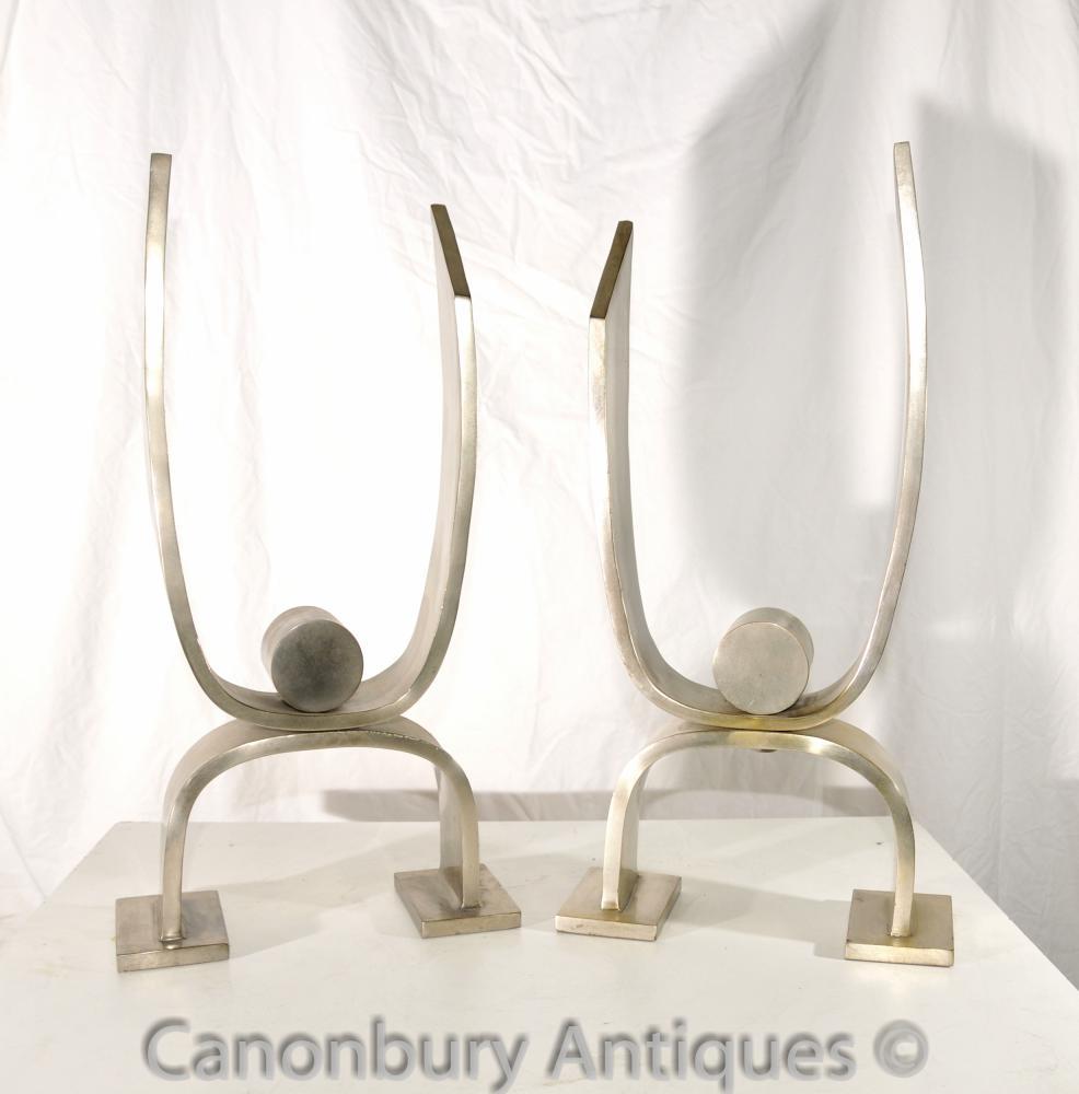 Art Déco Argent Bronze Andirons Chenet Sculpture décorative Deskey-Vollmer