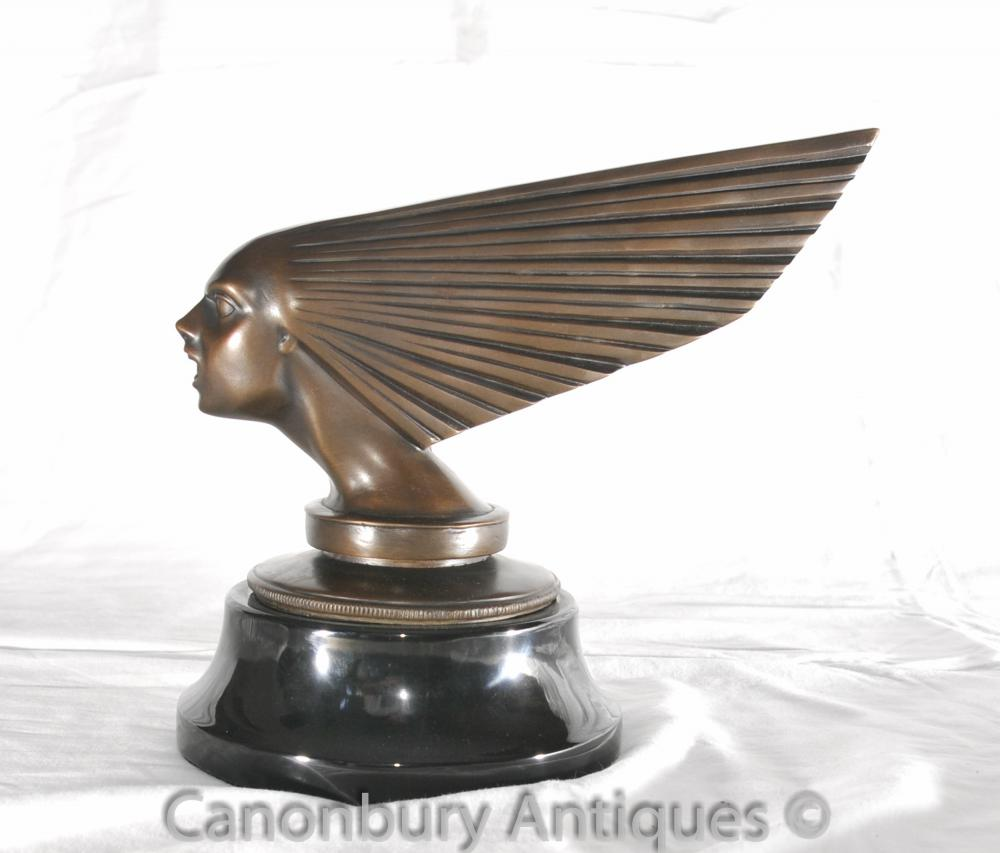 Bronze Art Déco Voler Lady Buste Statue Mascot Voiture