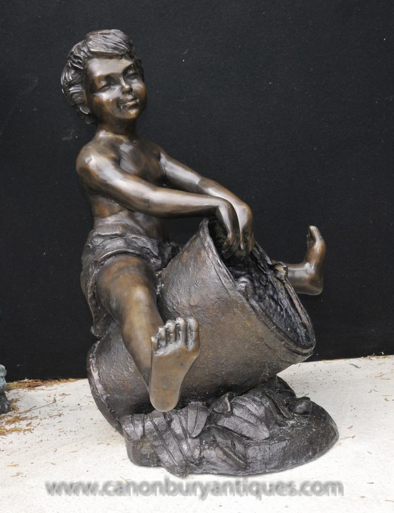 Bronze Bucket Boy Fountain Statue Figurine