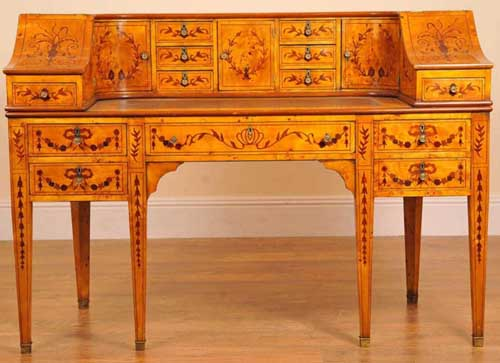 Carlton House Desk in Satinwood Inlay
