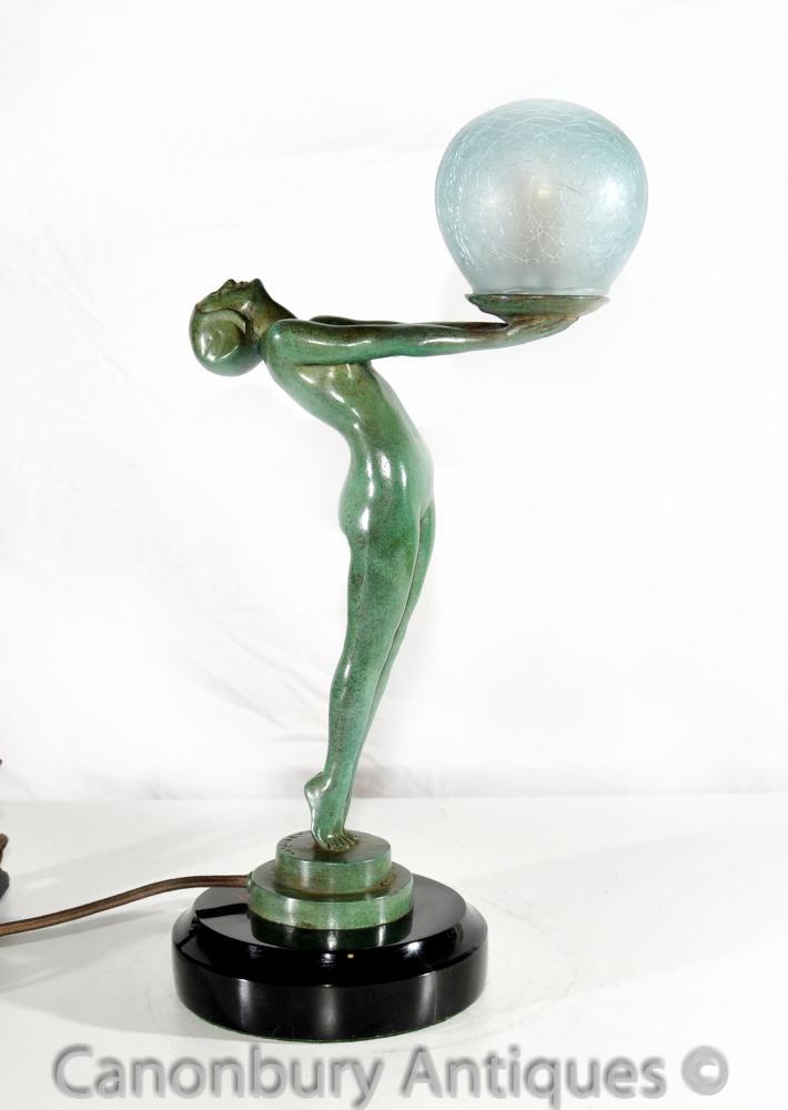 Lampe de table art d co bronze clarte biba fille figurine - Lampe de sel qui coule ...
