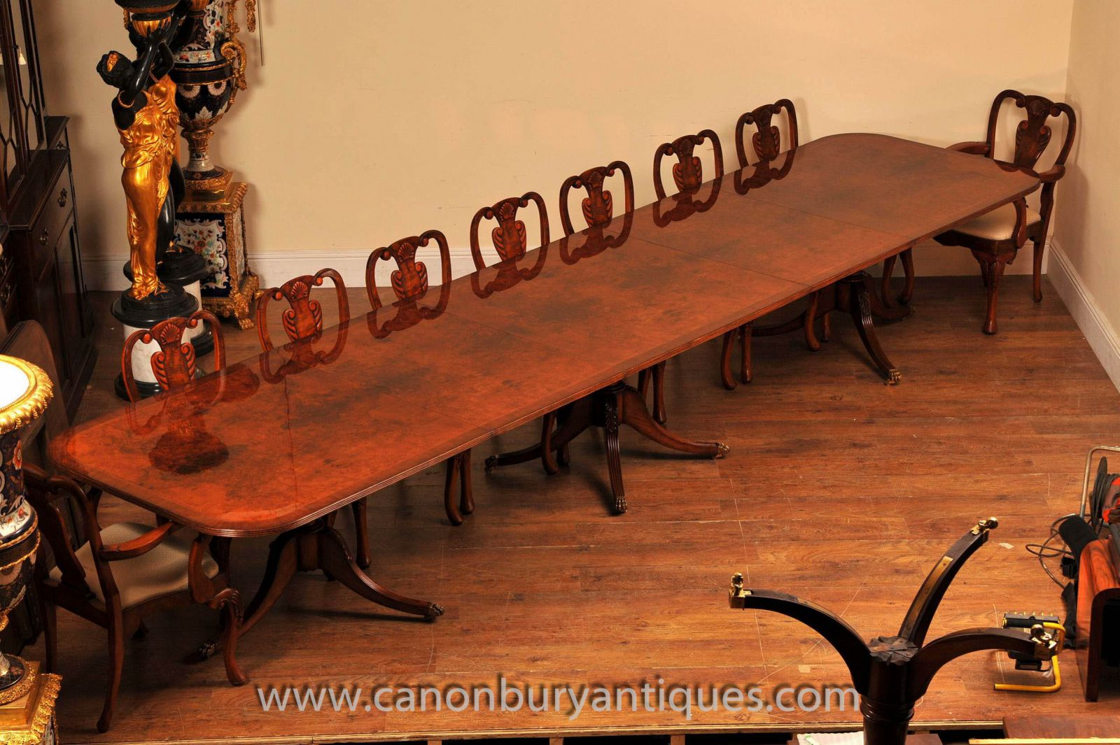 Large Regency Pedestal Table and Set of Chairs www_canonburyantiques_com-2