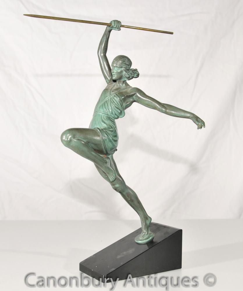 Original Art Deco Bronze Amazone Au Javelot by Le Faguays Le Verrier