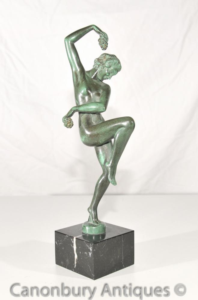 Original Vendanges Art Deco Bronze Antique Statue Le Verrier Foundry