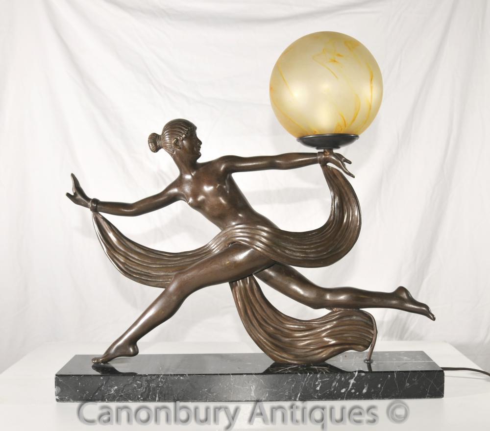 Originale des années 1920 Art Antique Déco Danseuse Lampe Bronze par Outline