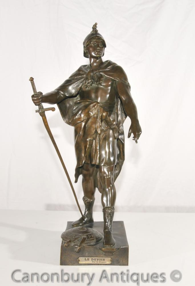 Origine Le Devoir Antique Bronze Roman Soldier Statue par E Picault