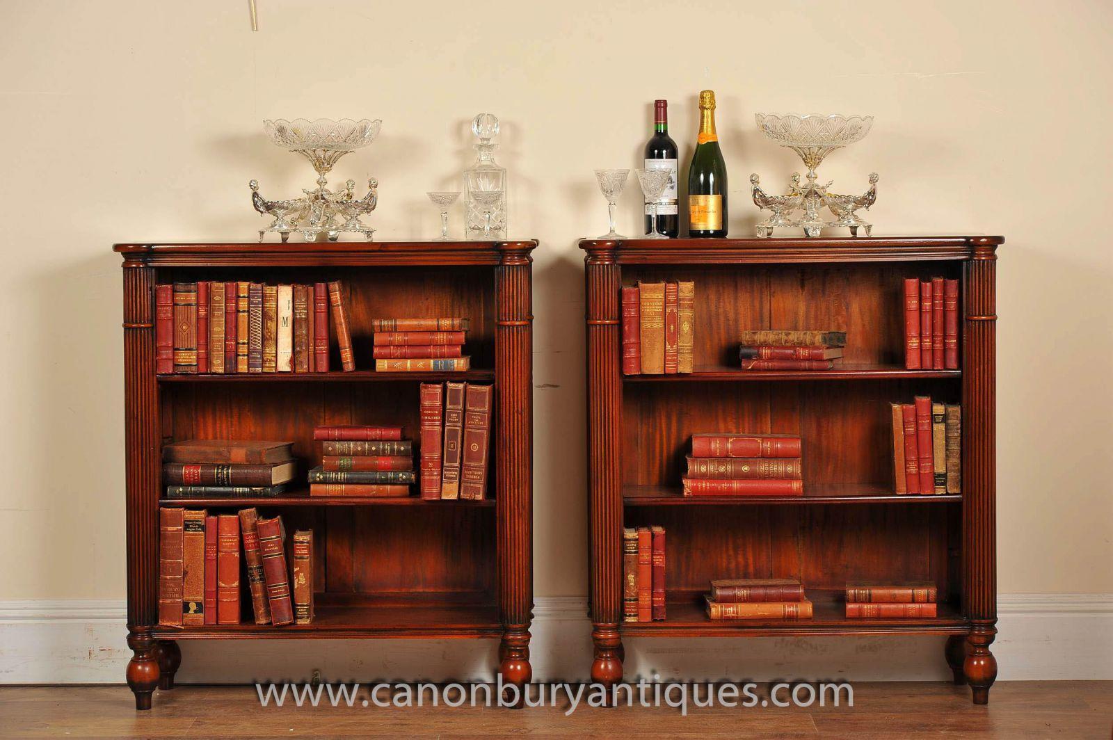 Pair Regency Mahogany Bookcases www_canonburyantiques_com-2