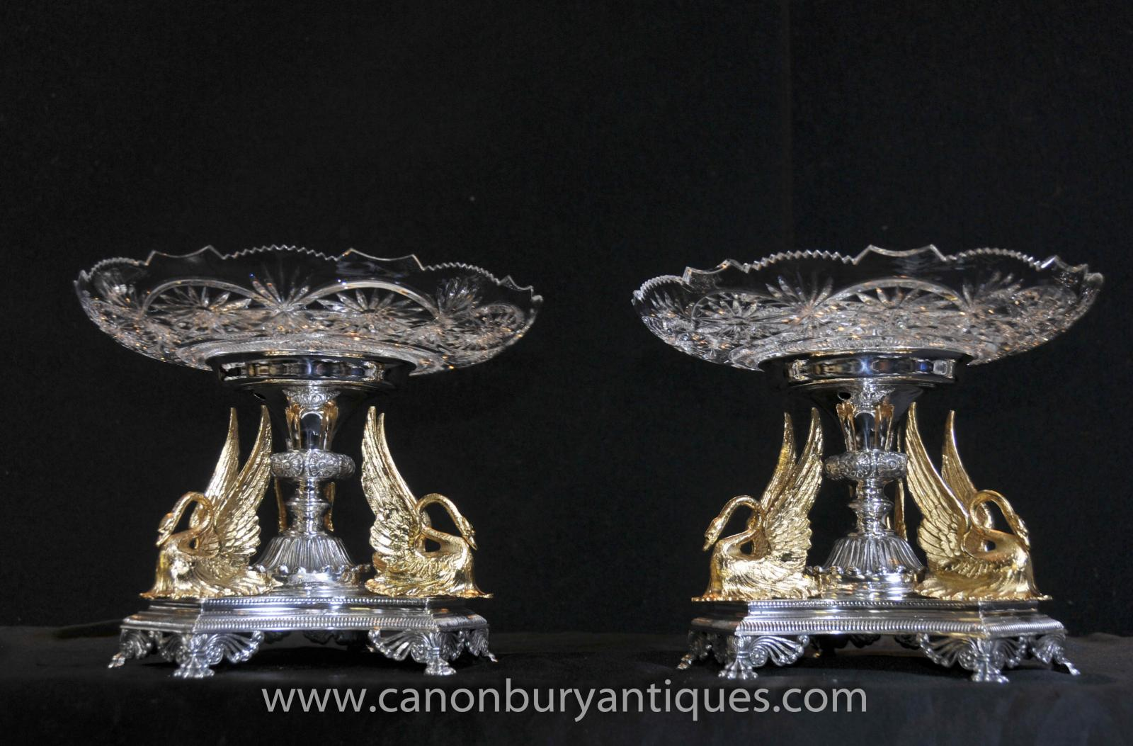 Pair Sheffield Silver Plate Epergnes Gilt Swan Dippers Cut Glass Plates Dish C_C_T Co-1418774205-zoom-68