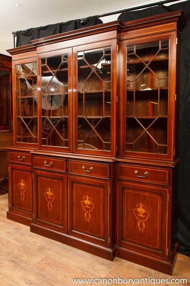 Regency Mahogany Breakfront Bookcase Sheraton