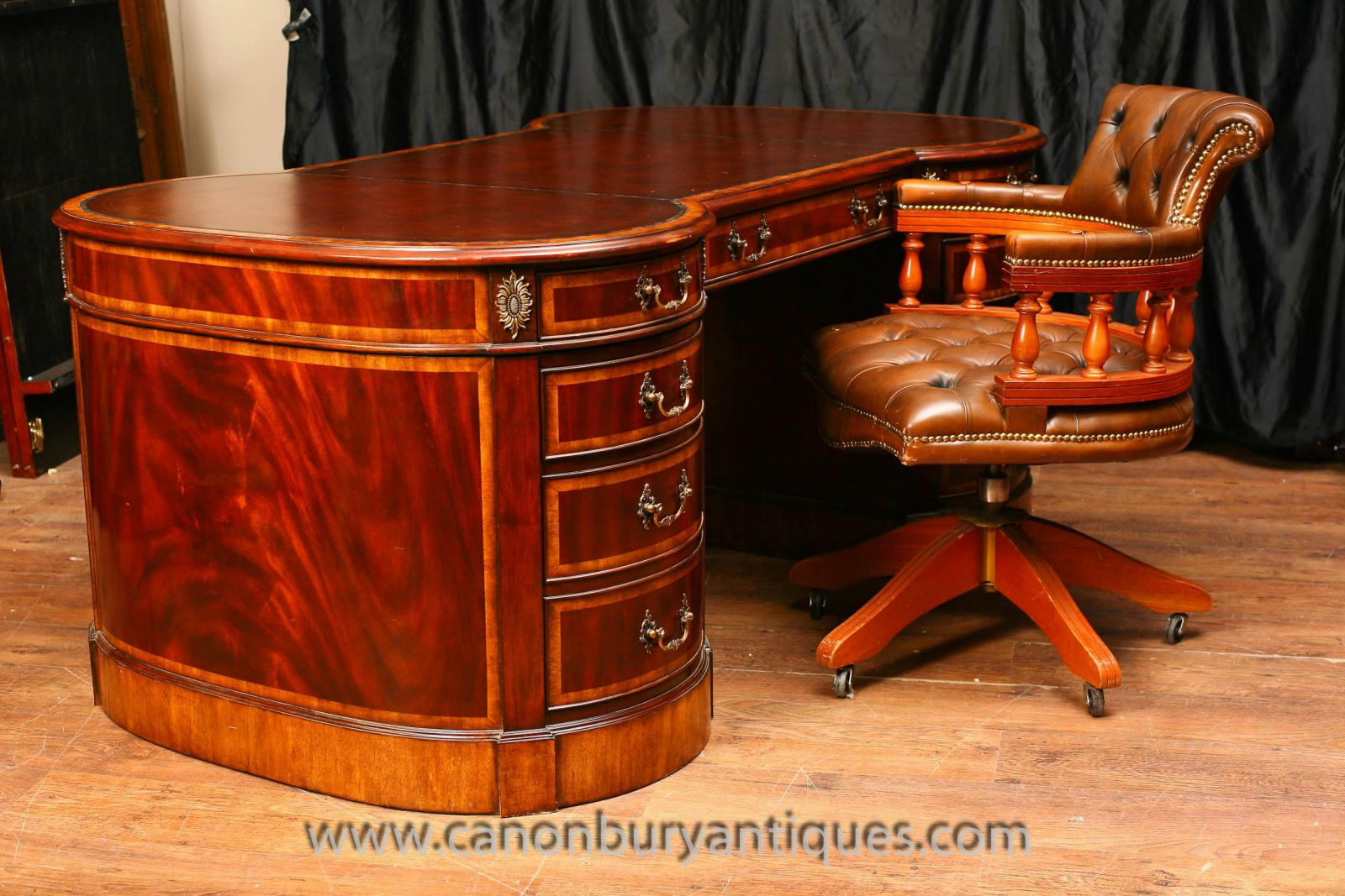 Regency Mahogany Desk and Chair Set www_canonburyantiques_com (12)-2