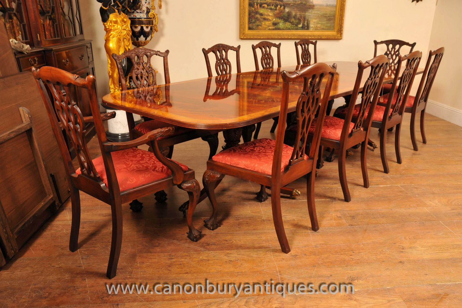 Regency Table and Set Chippendale Dining Chairs Set www_canonburyantiques_com-2
