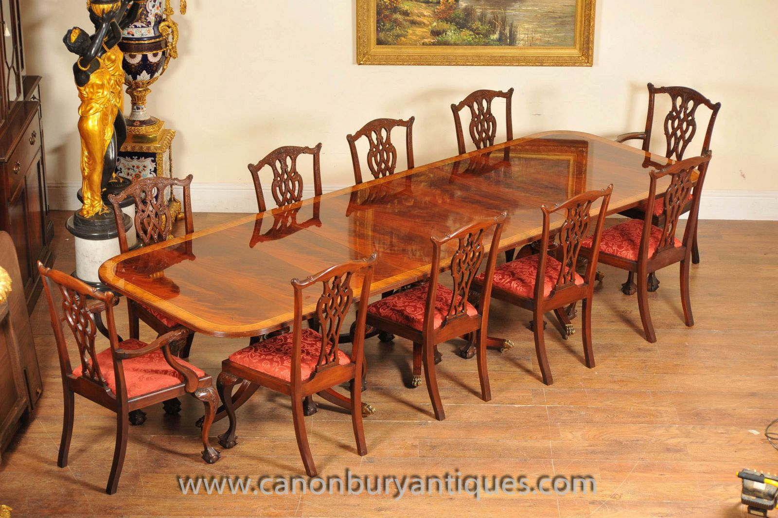 Regency Table and Set Chippendale Dining Chairs Set www_canonburyantiques_com (4)-2