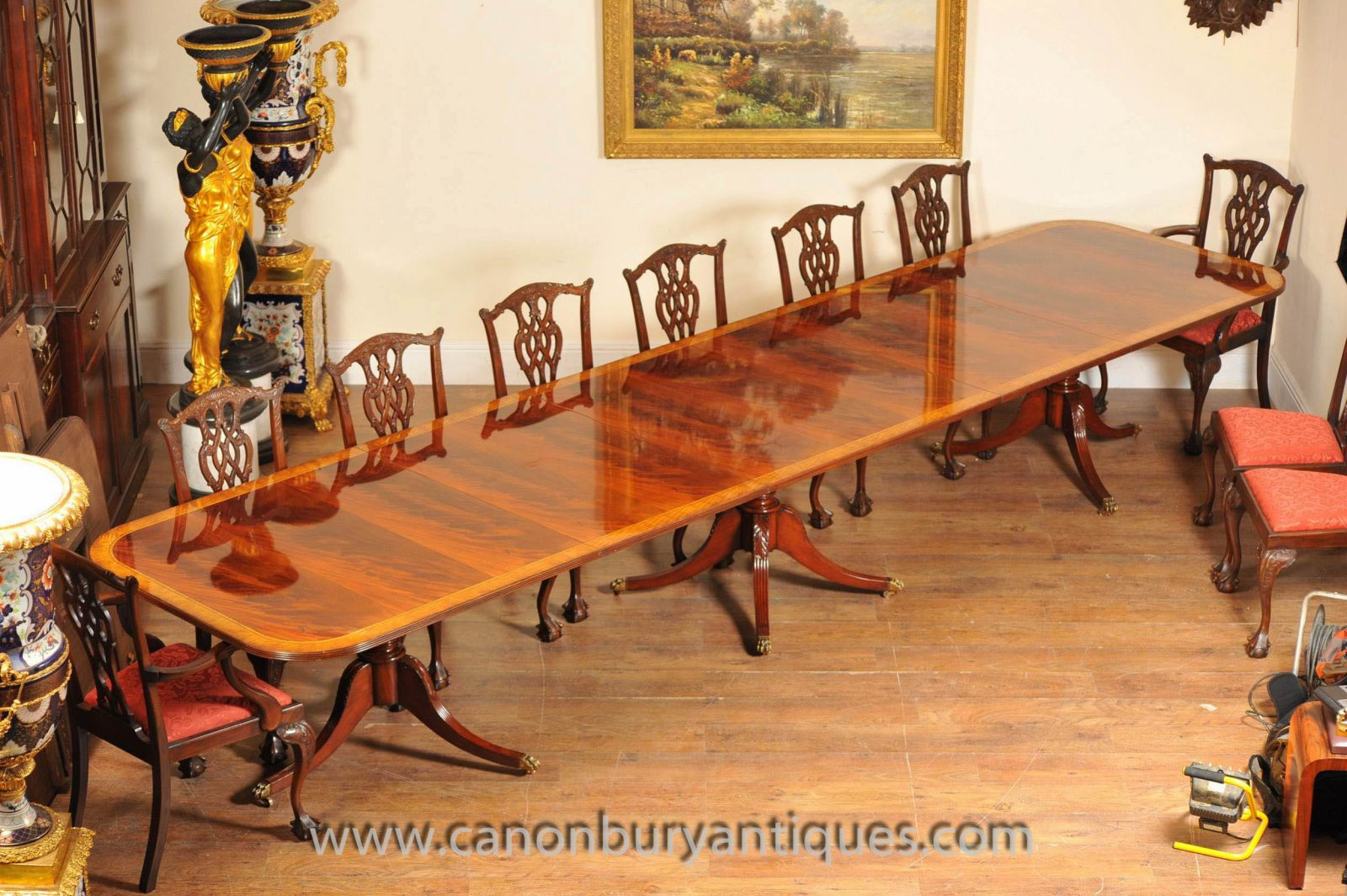 Regency Table and Set Chippendale Dining Chairs Set www_canonburyantiques_com (6)-2