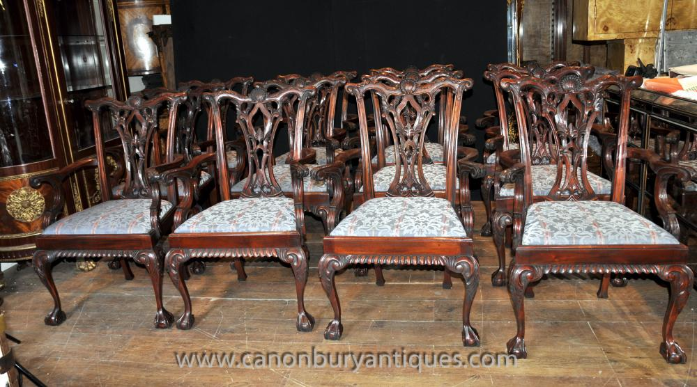 Set 12 Chippendale Mahogany Arm Chairs Dining Chair