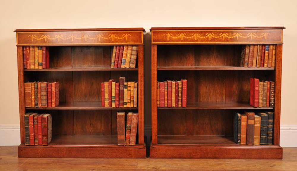 Sheraton Walnut Low Open Front Bookcases