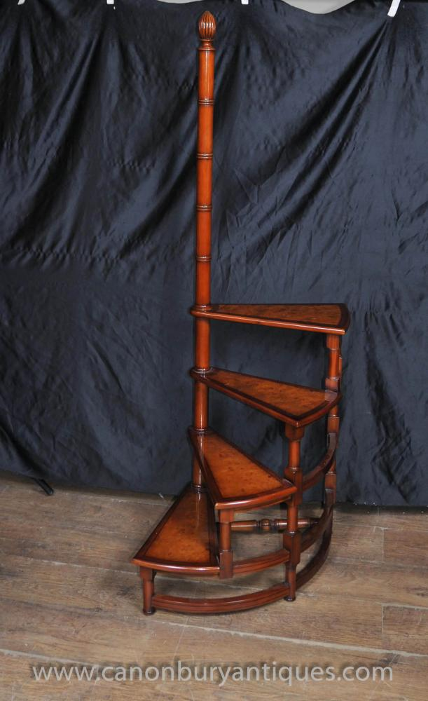 Victorian Library Ladder Step Ladders Walnut Stair-1423079629-product-17