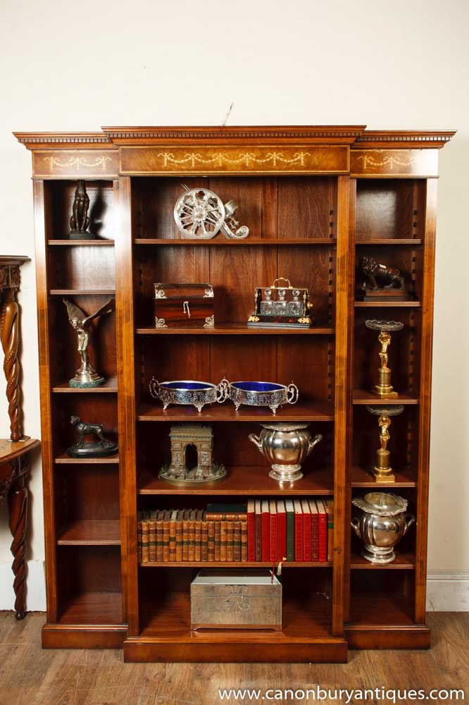 Walnut Regency Breakfront Bookcase Open Sheraton Inlay-1406973050-product-15