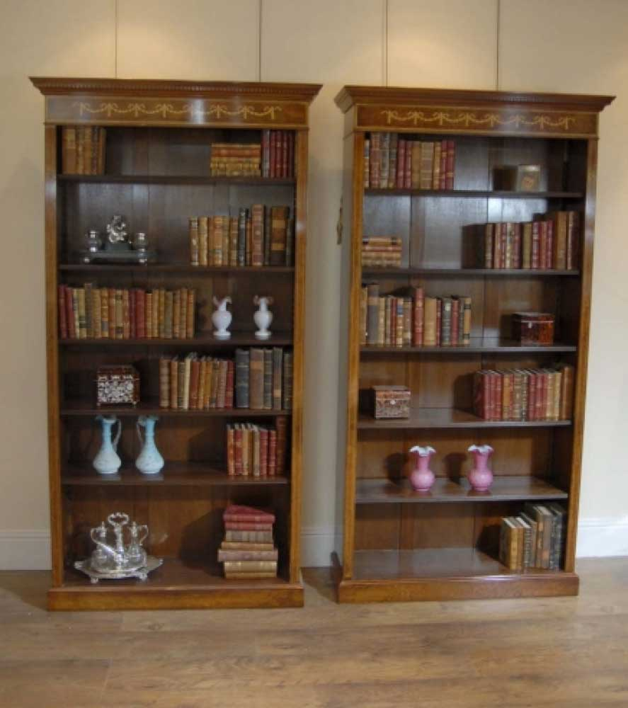 Walnut Regency Sheraton Open Front Bookcases