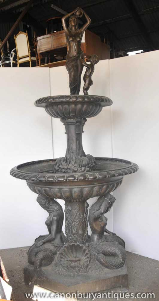 XL Italian Bronze Mermaid Tiered Fountain
