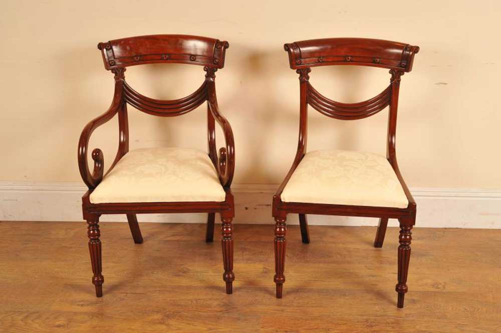 regency swag back chairs