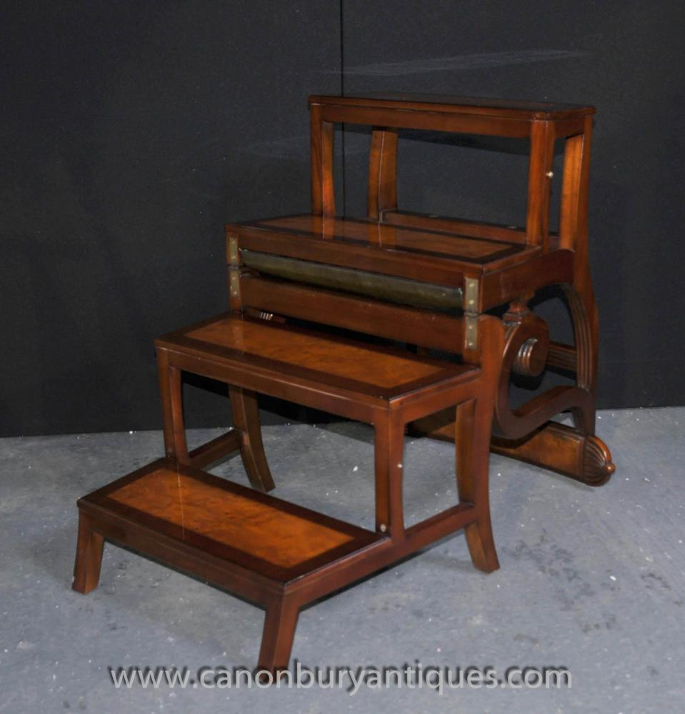 walnut metamorphic chair library steps