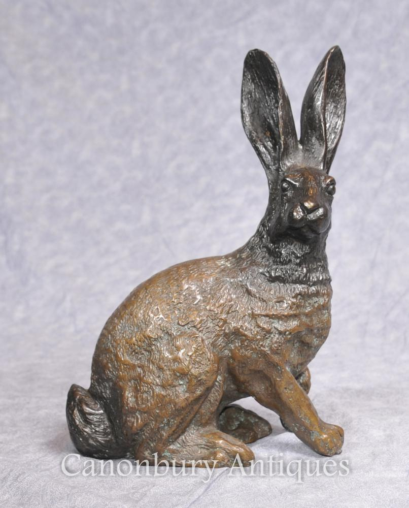 Anglais Bronze casting Hare Statue Pays Lapin Lapin