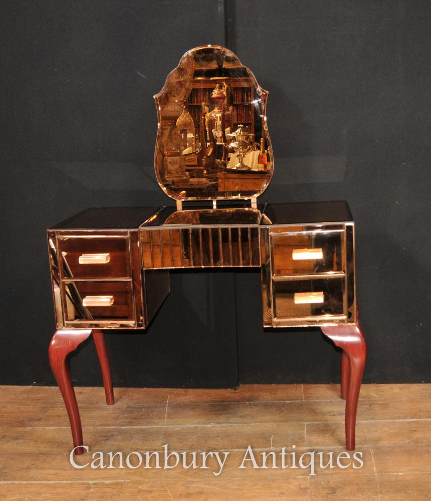 Art Antique Deco Mirrored Dressing Table Bureau Table