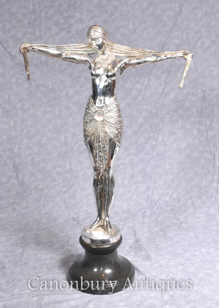 Art Deco Plaqué Argent Bronze Chiparus Danseuse Statue Castings Signée