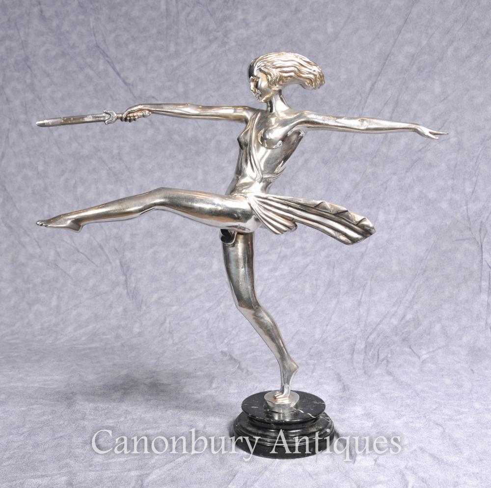 Art Deco Plaque Argent Bronze Diane Hunter Dagger Statue