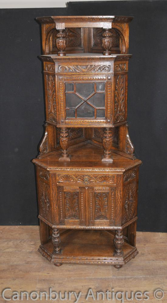 English Antique Carved 1890. Oak jacobin Coin Cabinet