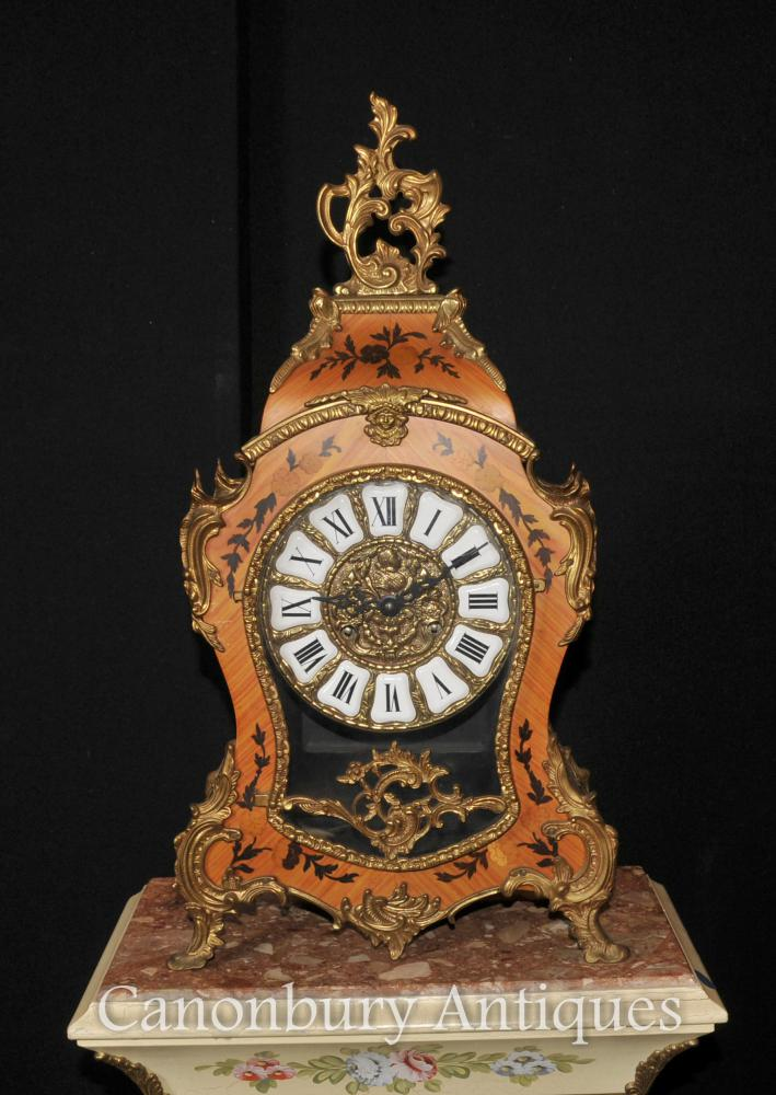 Français Antique Louis XVI Mantel Clock Marqueterie Inlay