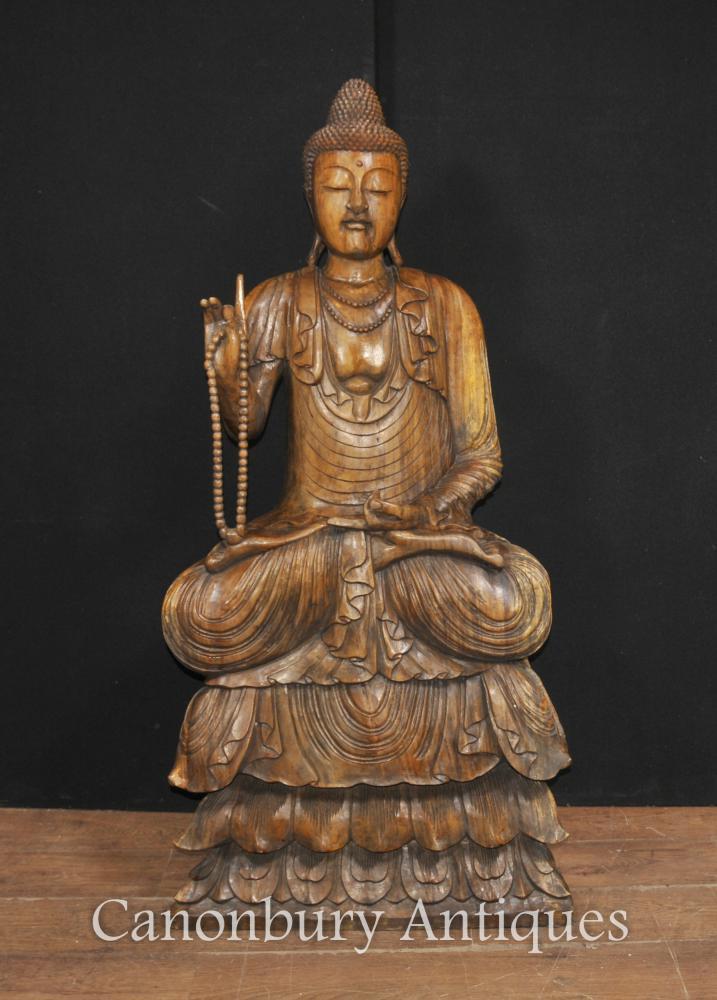 Grand Sculpté à la main Sculpture tibétaine Statue de Bouddha Bouddhisme Tibet bouddhiste