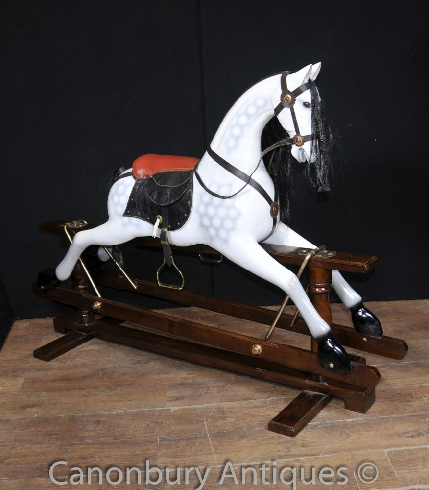 grison gris cheval bascule pour enfants toy horses. Black Bedroom Furniture Sets. Home Design Ideas