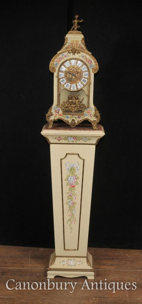 Horloges Français Antique Art Nouveau Pendule Pedestal Painted